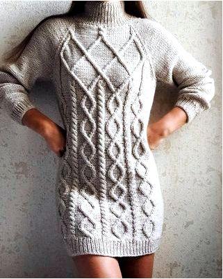 Вязаный свитер-платье на пике популярности